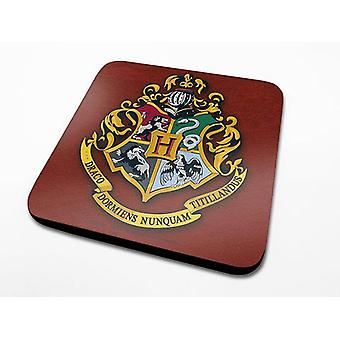 Harry Potter coasters set Hogwarts coat of arms set of 6, red, printed, coated Cork.