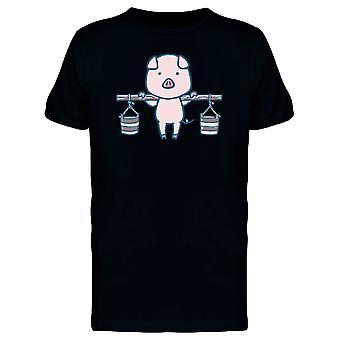 Schwein mit Wasser Eimer T-Shirt Herren-Bild von Shutterstock