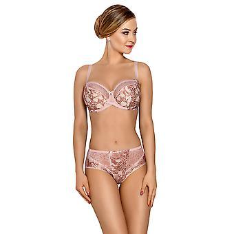 Polvo rosado adorno de encaje bragas Panty breve de vena VF-331 mujeres