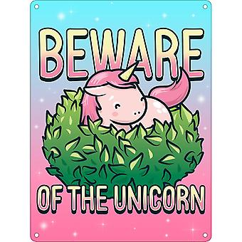 Grindstore Beware Of The Unicorn Mini Tin Sign
