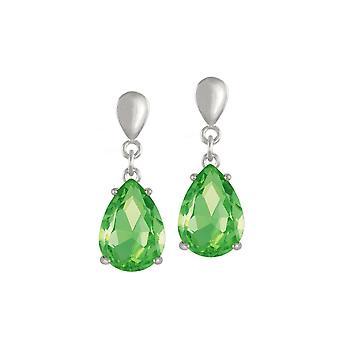 Eternal Collection Seduction Teardrop Peridot Green Crystal Silver Tone Drop Pierced Earrings