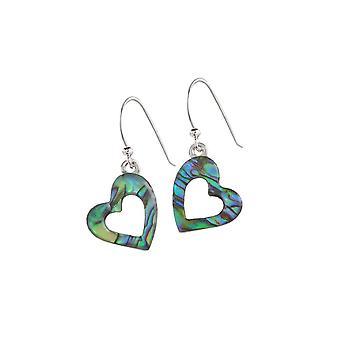Evige samling kærlighed hjerte Paua Shell sølv Tone Drop gennemboret øreringe