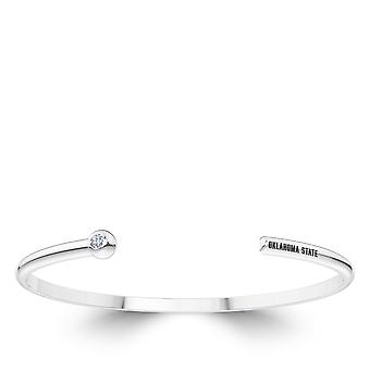 Oklahoma State University Engraved Sterling Silver Diamond Cuff Bracelet