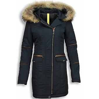 Winter Coats With Fur Collar - Parka Coat - Blue