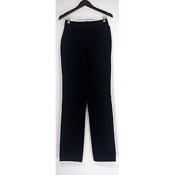Isaac Mizrahi Live! Jeans 2T høj Pull-on w/lige ben sort A295119