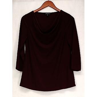 Slinky Top Pull Over Draped Neckline Tunic Style Maroon Red Womens 506-006