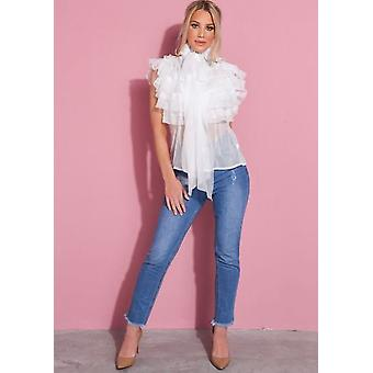 Franje Pussybow Pearl knop door pure blouse wit