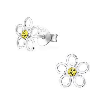 Flower - 925 Sterling Silver Crystal Ear Studs - W26224X