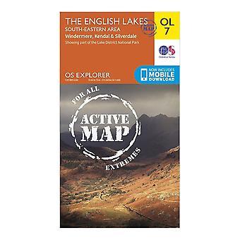 New OS Explorer Active OL7 The English Lakes - South Eastern Area Map Orange