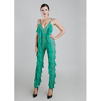Green ruffles jumpsuit