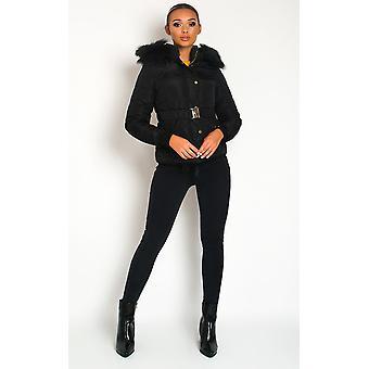 IKRUSH Womens Simone Padded Faux Fur Hood Puffer Jacket