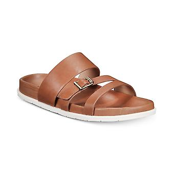 Aqua College Womens Sloan Leather Open Toe Casual Slide Sandals