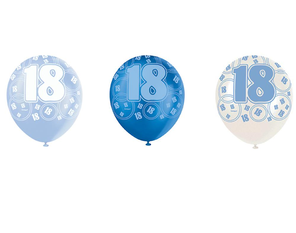 Blue Glitz 18th Birthday Age 18 Pack 6 Latex Party Balloons Suit Air Or Helium