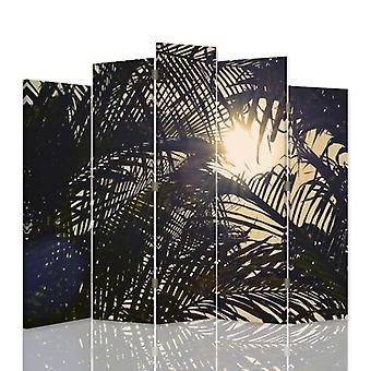 Dekorativa rumsavdelare, 5 paneler, dubbelsidig, canvas, sol bakom palmer