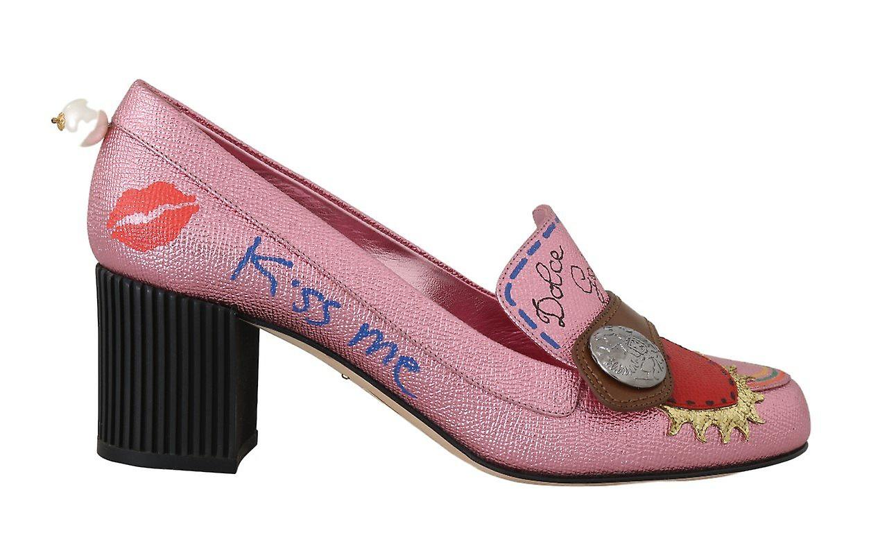 Pink Leather Heart Moccasins Heels