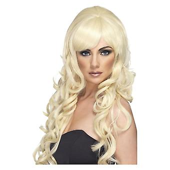 Womens Pop Starlet peruk blond maskeraddräkter tillbehör