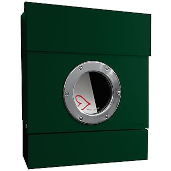RADIUS 2 incl. newspaper role Letterman dark green mailbox 505o