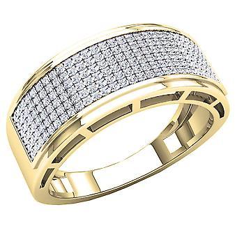 Dazzlingrock Collection 0,55 Carat (CTW) 10k runde hvide diamant mænd ' s hip hop bryllup band 1/2 CT, gul guld
