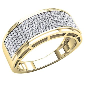 Dazzlingrock Collection 0.55 Carat (Ctw) 10K Round White Diamond Men's Hip Hop Wedding Band 1/2 CT, Yellow Gold