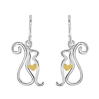 Dew Sterling Silver Cat With Gold Plate Heart Drop Earrings 60347GD028