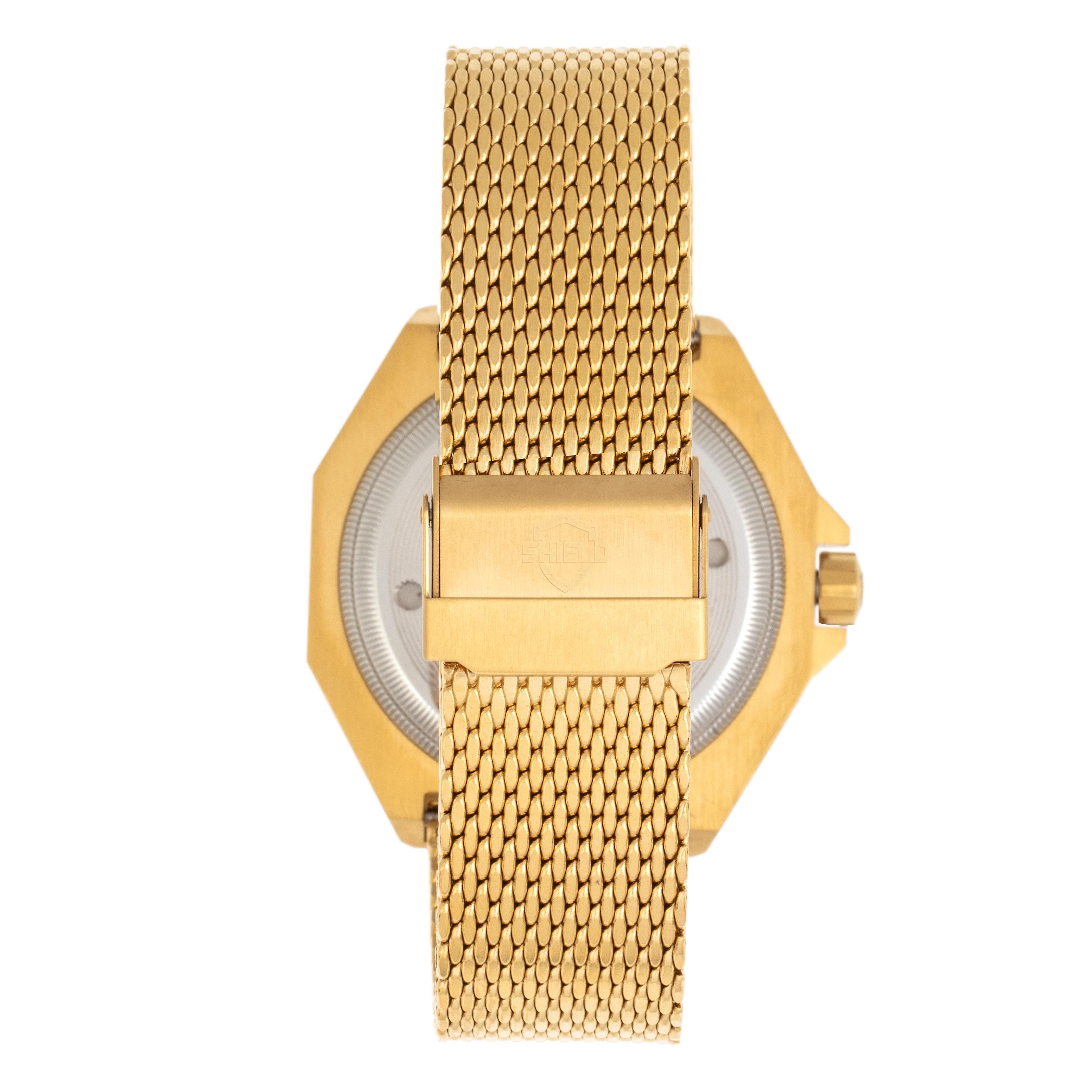 Shield Marius Bracelet Men's Diver Watch w/Date - Gold/Black