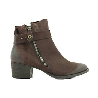 Paul Green 9264-02 Brown Nubuck Leather Womens Heeled Ankle Boots