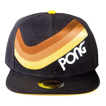 Atari Retro Pong Wave Stripe Snapback Baseball Cap Unisex Black/Yellow