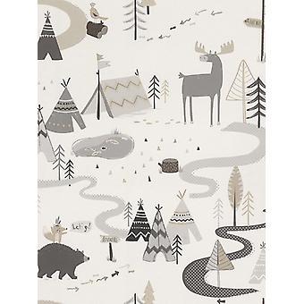 Scandi Adventure Forest Wallpaper Grey / White Rasch 292404