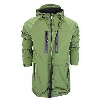 Weekend Offender Duran Nylon Zip Up Hooded Green Jacket