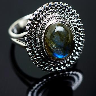 Labradorite خاتم حجم 9.25 (925 الجنيه الاسترليني الفضة) -- اليدوية بوهو خمر مجوهرات RING990144