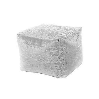 Zilveren Verpletterd Velvet Square Bean Bag Footstool Voetsteun Kruk Pouffe Ottomaanse