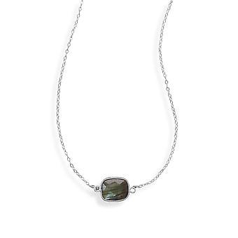 16 Plus 2 Tums Extention 925 Sterling Silver Halsband Fasetterade Labradorite Stone 16 Tums smycken gåvor för kvinnor