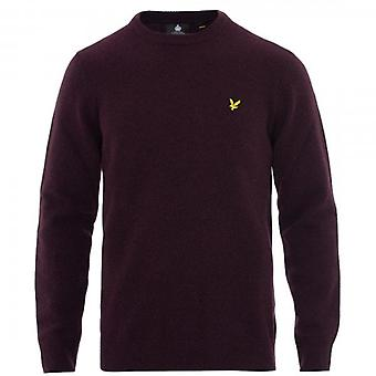 Lyle & Scott Burgundy Crew Neck Lambswool Knit Jumper KN1118V