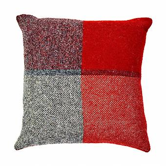 Tweedmill Pure New Wool Block Check Cushion - Rood en leisteen grijs 30cm X 30cm