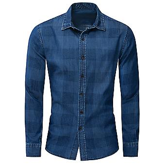 Allthemen Men's Cămașă în carouri Loose Fit Blue Long Sleeve Denim Blouse