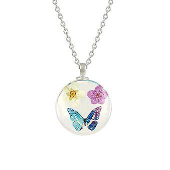 Eternal Collection Eden Blomst og sommerfugl hvid / pink / blå glas vedhæng