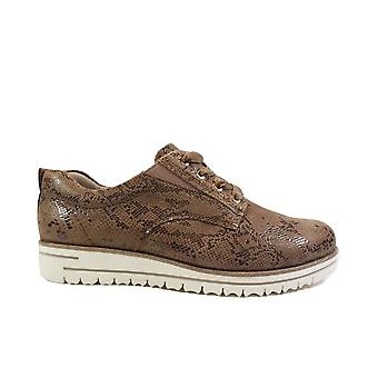 Tamaris 23744 Taupe Snake Skin Effect Leather Womens Lace Up Shoes