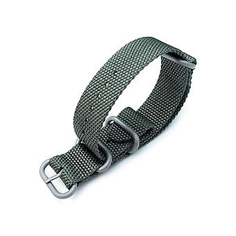 Strapcode n.a.t.o watch strap miltat 22mm thick 3 rings honeycomb zulu bullet tail military green nylon watch band, brushed