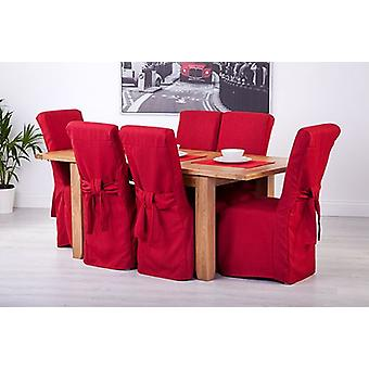 Red Linen Look Fabric Upholstered Slipcovers for Scroll Top Dining Chairs - 8 Pack