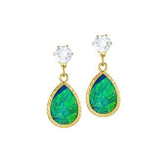 Eternal Collection Serendipity blå og grøn opalescent Teardrop Guld Tone Drop Pierced Øreringe
