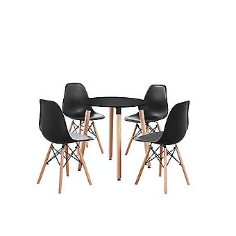 Eiffel Halo Round Dining Table Set With 4 Chairs