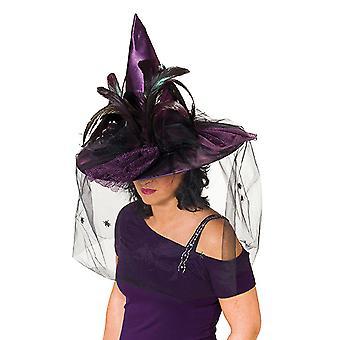 Tüylü cadı şapkası mor