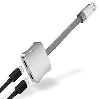Dual Lightning adapter iPhone 7/8/X med metallfinish