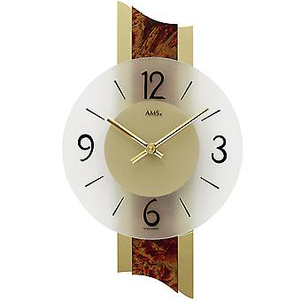 AMS 9393 Wall clock Quartz analog golden modern with brass and glass