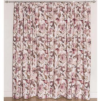 Têxteis McAlister blush rosa floral cortinas de veludo