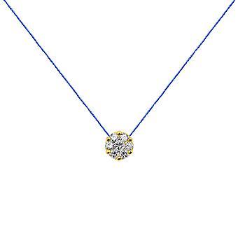 Choker Flower Cluster 18K Gold and Diamonds, on Thread - Yellow Gold, RoyalBlue