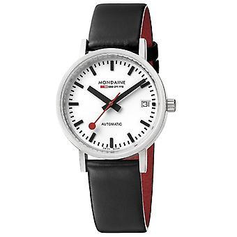 Mondaine Classic Automatic White Dial Black Leather Strap Unisex Watch A128.30008.16SBB