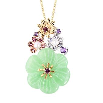 Flower Green Jade Silver Chain Pendant Necklace Fresh Water Pearl, Amethyst