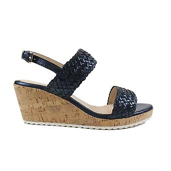 Caprice 28702 Navy Leather Womens Slingback Wedge Sandals