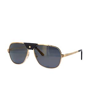 Cartier Santos de Cartier CT0165S 007 Gold/Polarised Grey Sunglasses